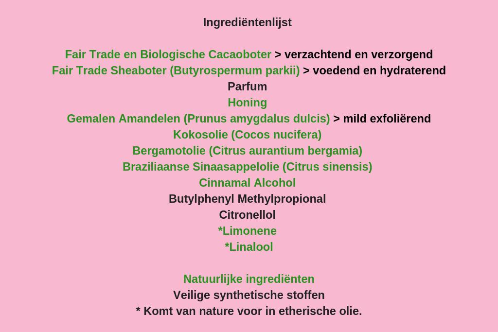 LUSH Scrubee ingrediënten