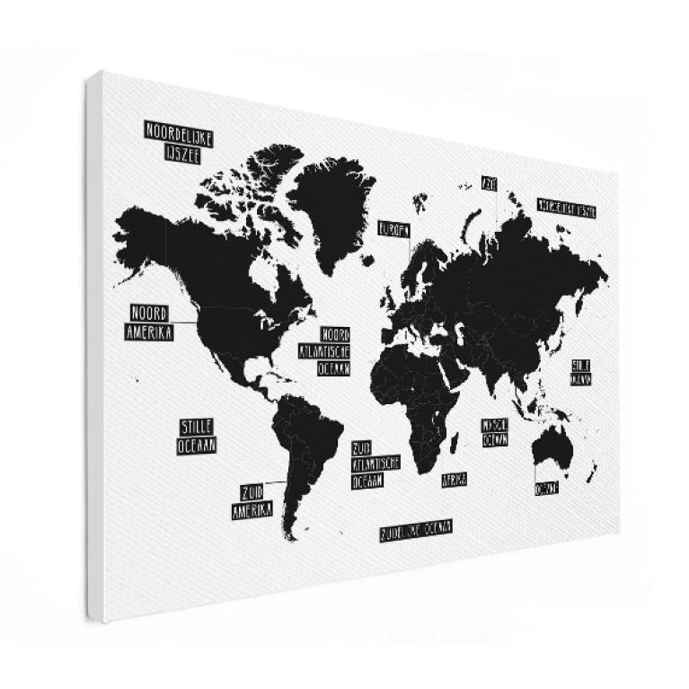 Wereldkaarten op canvas